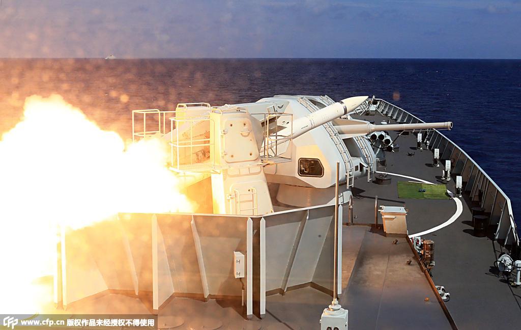 海军在南海某海空域举行实兵对抗演练