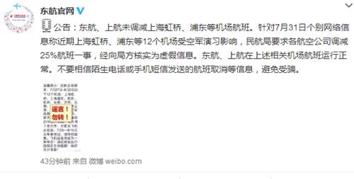 """中新网7月31日电  关于网传""""上海虹桥、浦东等12个机场受空军练习作用各航空公司调减25%航班""""一事,国家东方航空株式会社今日在其民间微博公布音讯称,经核实为虚伪资讯。"""
