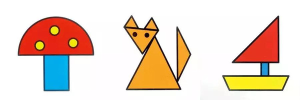 1.随意组合   把圆形、三角形、四边形等形状散放在桌子上,让孩子随意找出几个图形进行组合。然后让他说一说,拼出来的图形像什么。这可以提高孩子的动手组合能力,培养想象力。   2.图形做的小房子   找出一个三角形和一个四边形。先放好四边形,然后在上面放上三角形,小房子就搭好了。