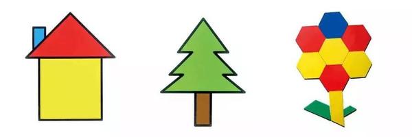 将几个三角形竖着排列,拼成树冠的形状,然后在下面放一个长方形,就图片