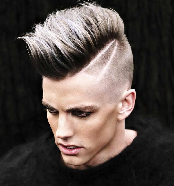 帅气的欧美男生发型流行趋势,两边铲短让脸型更立体有型.
