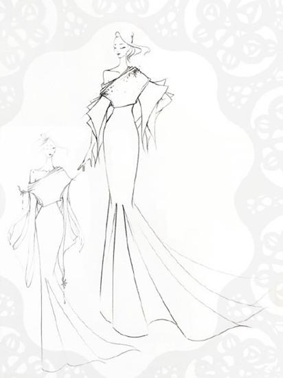 婚纱设计手绘素描鱼尾