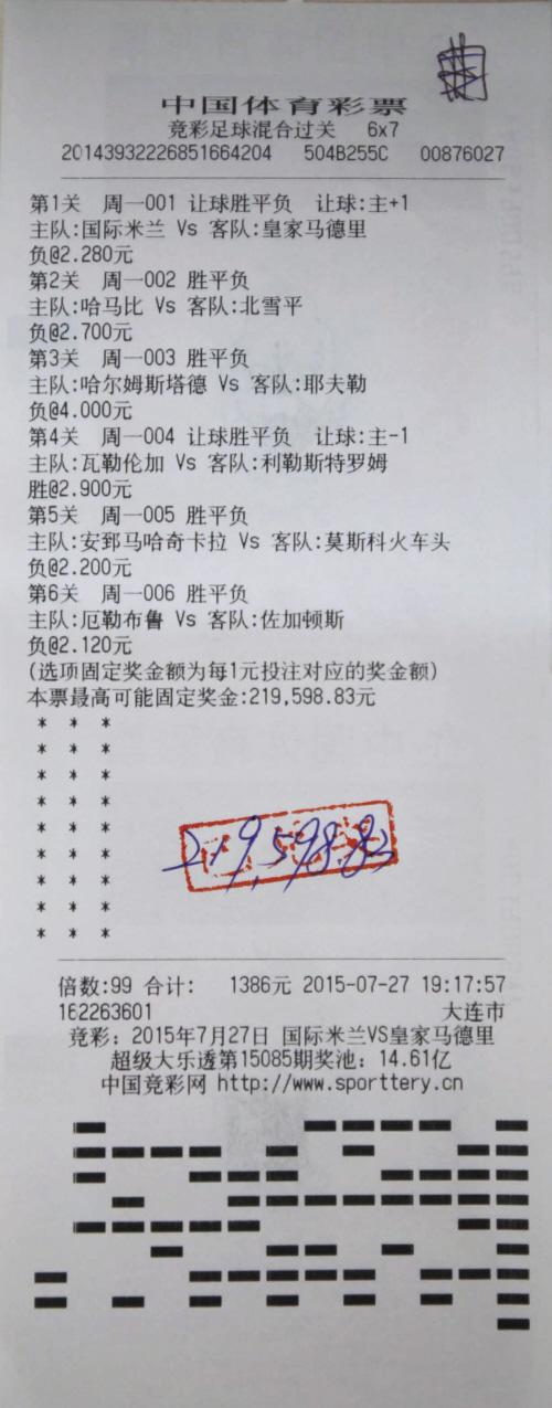 7竞彩足球混合过关彩票,6场全部命中,凭借99倍倍投,收获奖金21万余元.