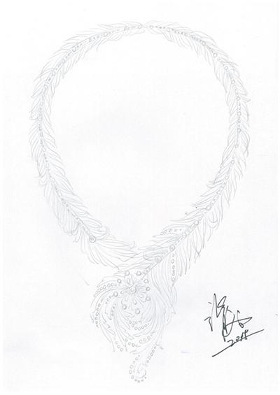 首饰手绘素描稿