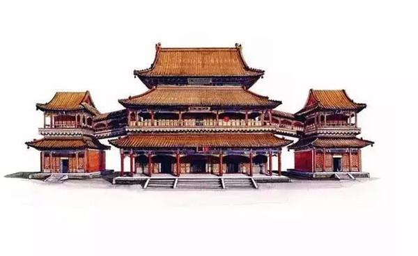 绝了 一起欣赏中国古代经典建筑手绘剖视图