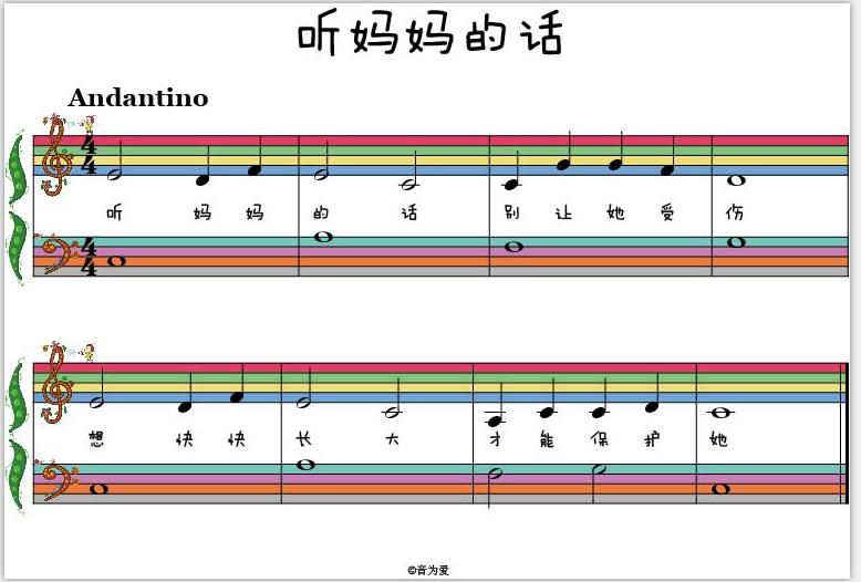然后基于彩虹五线谱设计出了《音乐小达人》系列钢琴