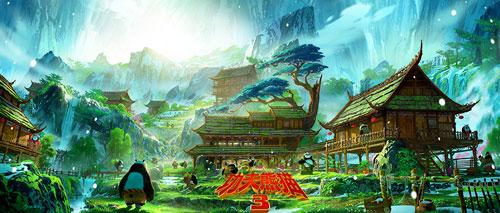 《工夫熊猫3》场景象点图:阿宝看到熊猫谷的蒸蒸日上
