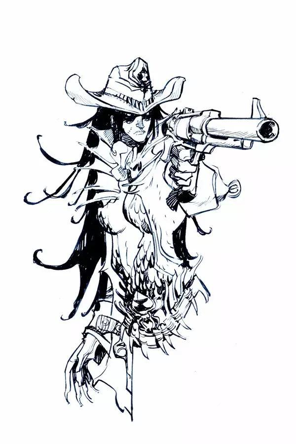 黑白欧美风创意手绘插画