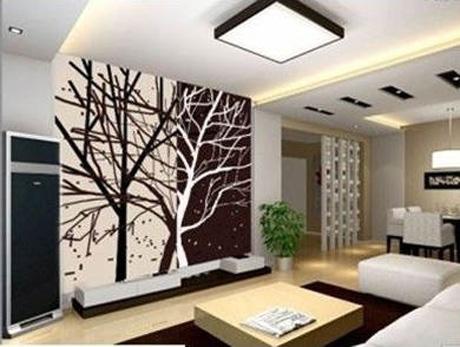 诗意盎然的客厅手绘墙图案,与客厅小巧精致的沙发,灯具,茶几等的完美