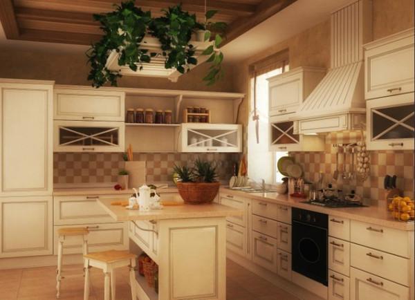 美式田园风格别墅装修设计——厨房图片