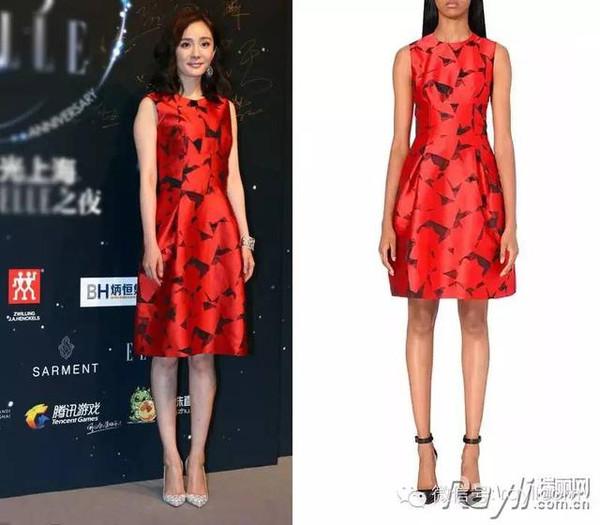 红色印花伞型连衣裙