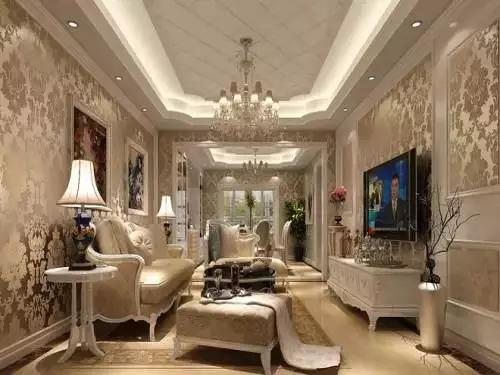 造型吊顶,欧式石膏线元素,配有欧式的家居,充分体现了欧式风格的舒适图片