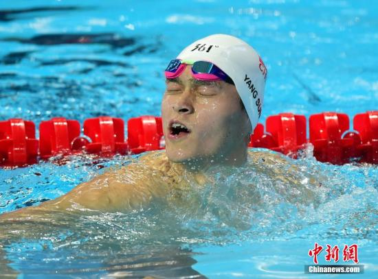 资料图:中国选手孙杨在游泳世锦赛上。 中新社发 侯宇 摄