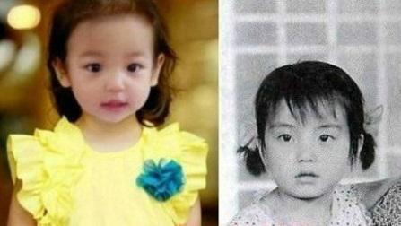她遗传了妈妈的超级大眼和高挺鼻梁,长大后定也是美女一枚!图片