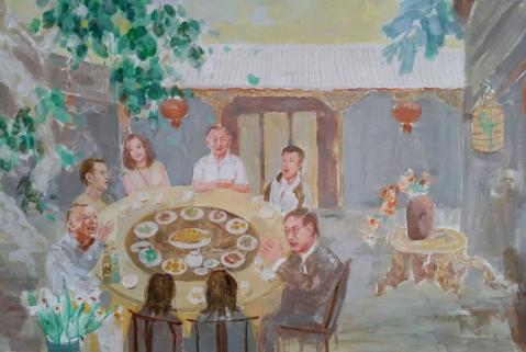 """油画《北京人》""""痞子""""王朔(左一)与""""大炮""""任志强(右一)饭桌上谈笑风生"""