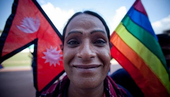 一名尼泊尔跨性别者在加德满都参加第一届南亚LGBT运动会开幕式。图片来源:网络