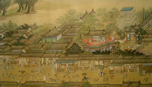 古代市井生活手绘