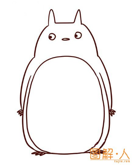龙猫简笔画撑伞内容图片展示