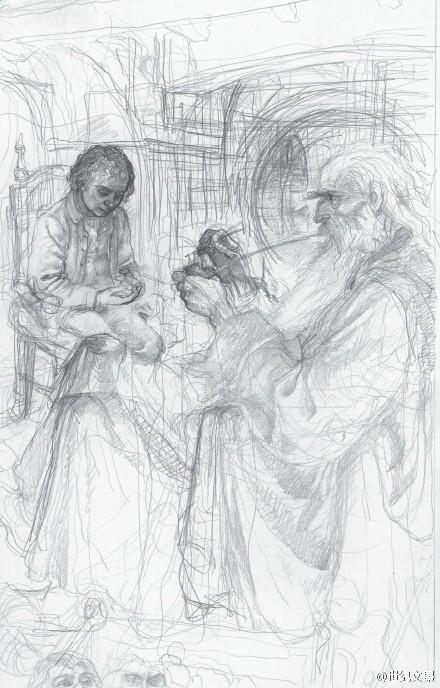 铅笔手绘古装戏曲