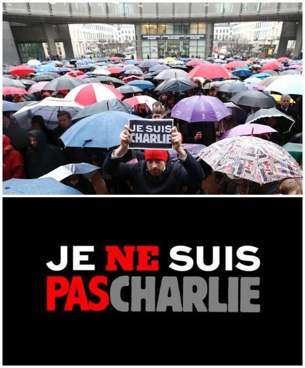 """上图:当地时间2015年1月8日,法国巴黎,民众手举""""我是查理""""法语字样纪念查理周刊袭击案遇难者。下图:法语""""我不是查理""""招贴。"""