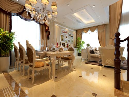 欧式经典别墅的餐桌
