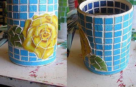 罐头盒与马赛克结合 diy制作漂亮笔筒图片