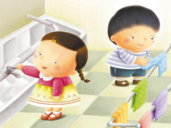 关水龙头卡通-孩子入园,妈妈最担心的那些事丨养成好习惯
