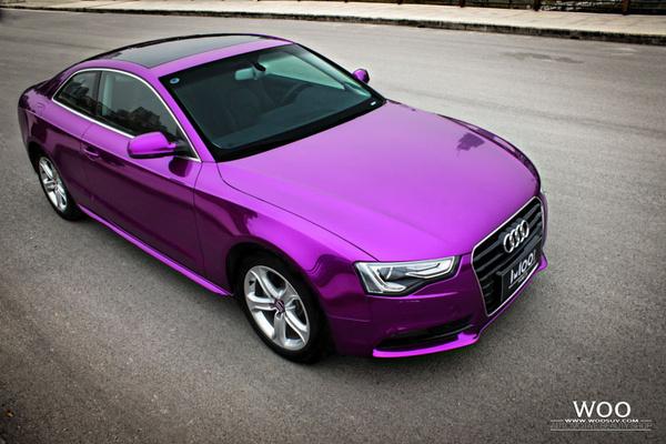 奥迪a5是进口的吗_奥迪A5汽车车身贴膜改色电镀紫罗兰-搜狐