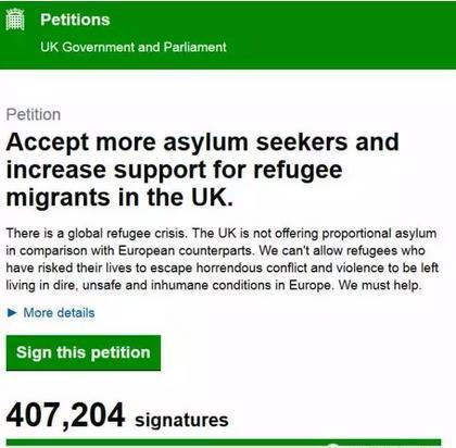 在英国政府网站上,逾40万英国民众请愿呼吁接纳更多难民。