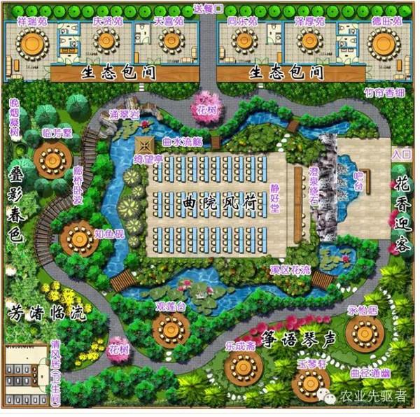 园林餐厅手绘平面图