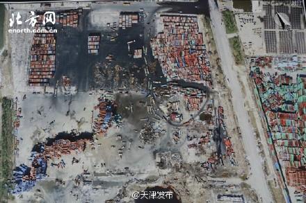 天津爆炸核心區集裝箱擺放區域。