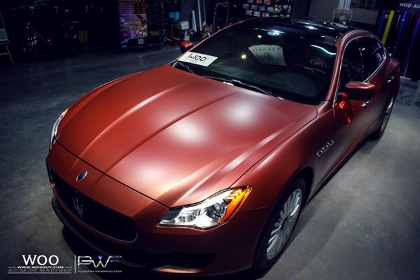 玛莎拉蒂总裁汽车车身贴膜改色哑面小珠光酒红