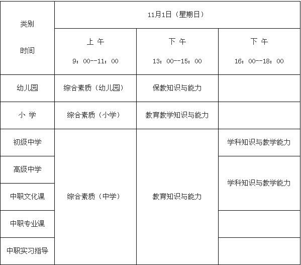 2015年河南教师资格证考试时间
