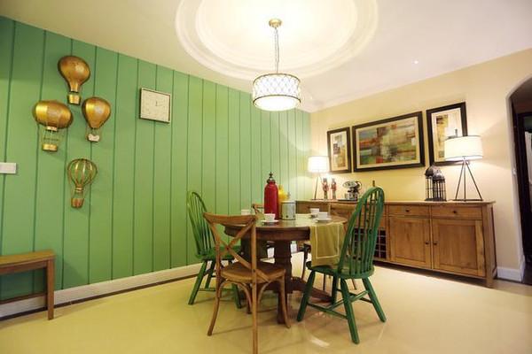 绿色地板配窗帘美式深色地板窗帘图片6