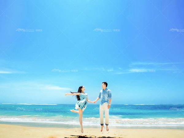 无人婚纱照海边外景-海滩婚纱背景 无人
