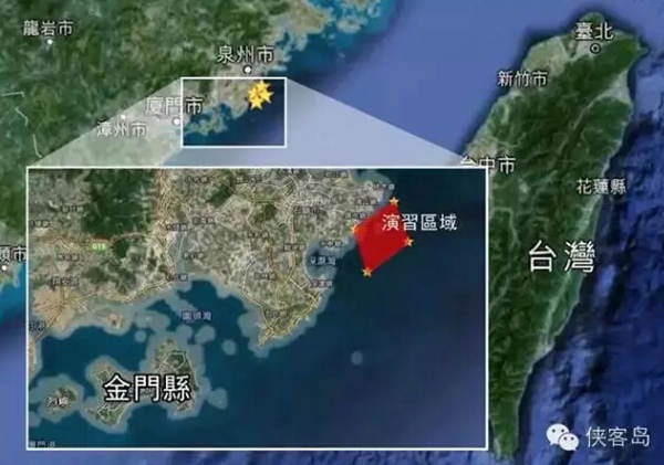 """图中红框处为演习区域,明白如岛上诸君一眼就能看出来,演习贴近大陆海岸一侧,演习区域也不大。不但避开了金门,离台湾本岛甚至所谓""""海峡中线""""都还远着呢。有媒体查证,解放军军演活动范围在浙江沿海和汕头沿海一带。"""