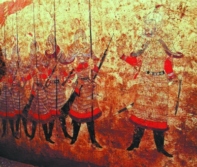 唐长乐公主墓壁画中高大帅气的御林军