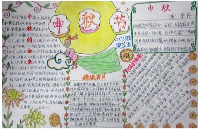 中秋节绘画图片大全中秋节儿童画中秋节小报