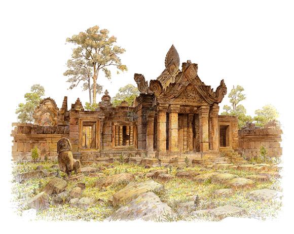 古代建筑图片手绘画马克笔