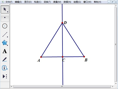 在中垂线上任取点d并绘制线段ad,bd图片