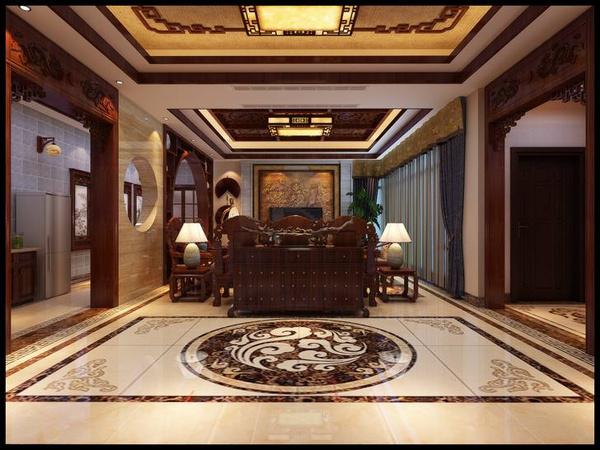 济南华润仰山古镇中式欧式混搭别墅装修效果图房下别墅司风格图片