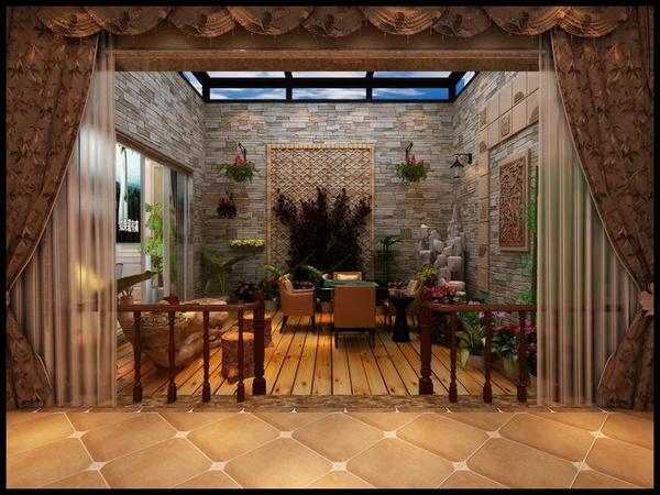 济南华润仰山别墅中式欧式混搭风格装修效果图图片