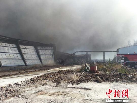 黑龙江林甸一厂房发作火警 过分面积约4700平方米 网友供给 摄