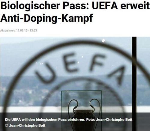 欧足联将启用生物护照技术