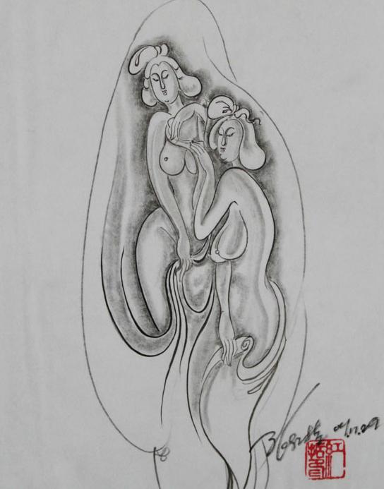 玉石雕刻小动物素描