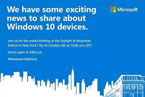 微软送出邀请函 10月6日发布Lumia 950