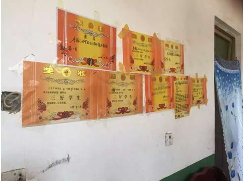 贫困学生家里的奖状墙图片