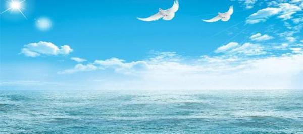 手绘大海蓝天星空背景