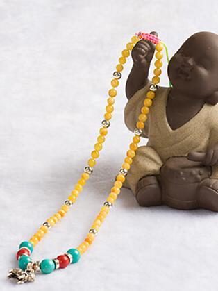 自制蜜蜡手链 串珠后的收尾打结方法