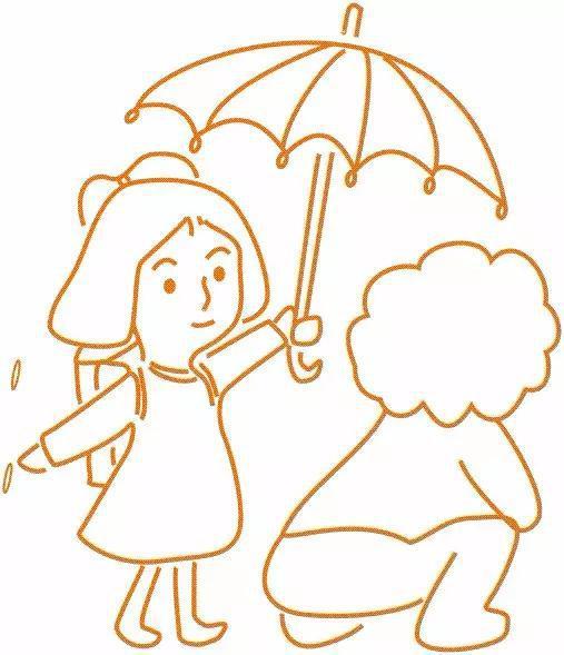 到幼儿园后,我叫宝宝打着伞赶紧 忍不住用手捏了捏酸痛的肩膀,这